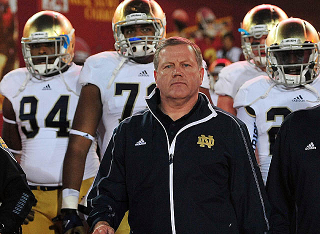 Kelly could be the fifth coach to win a national title in his third year at Notre Dame. (Getty Images)