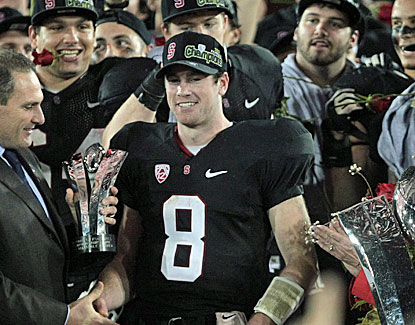 Stanford QB Kevin Hogan receives the MVP trophy after the Pac-12 title game. He throws for 155 yards and a touchdown. (US Presswire)