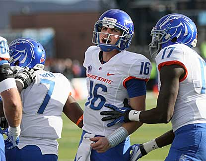 Boise State quarterback Joe Southwick (16) celebrates a touchdown with D.J. Harper (7). (AP)
