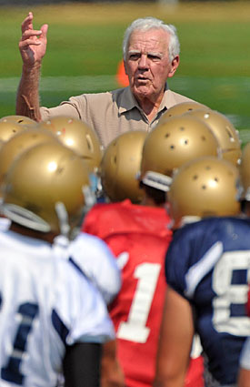 Ara Parseghian can still be spotted around South Bend, but doesn't want to spoil what the Irish have going. (US Presswire)