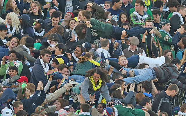 The student section at Notre Dame Stadium can be a little wilder than older fans might remember. (Getty Images)