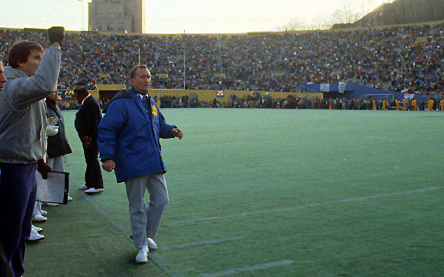 Faust, who went from coaching high school to Notre Dame in 1981, quit after five losing seasons. (Getty Images)