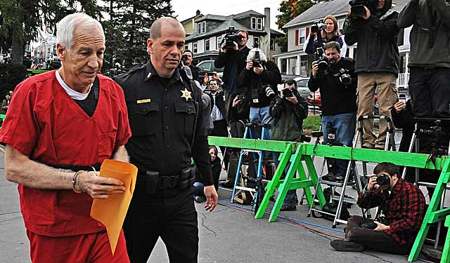 Jerry Sandusky is led into court to face sentencing after being found guilty of sexual abuse. (Getty Images)
