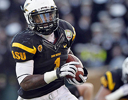 Offensive MVP Marion Grice runs for 159 yards and two touchdowns for the Sun Devils. (US Presswire)