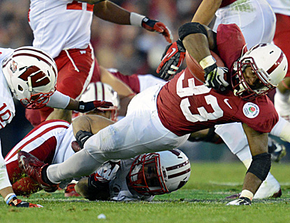Stepfan Taylor, who scores an early TD, stretches out for some of his 89 rushing yards against Wisconsin. (US Presswire)
