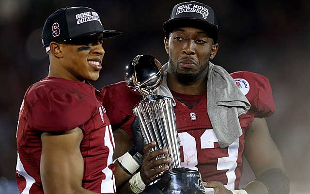 Stanford DB Usua Amanam (left) and RB Stepfan Taylor were named defensive and offensive MVPs. (Getty Images)