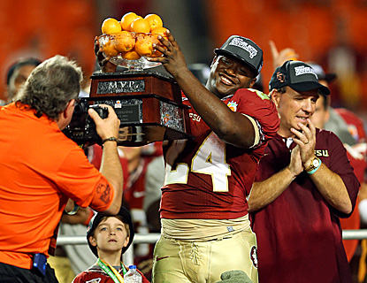 Florida State's Lonnie Pryor is named Orange Bowl MVP following the Seminoles' 31-10 win over NIU.  (Getty Images)