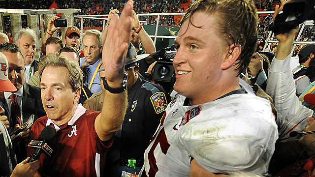 Barrett Jones leaves Alabama with three national titles while playing three different positions. (Getty Images)