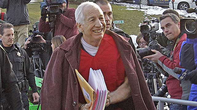 Sandusky enters court Thursday morning. (AP)