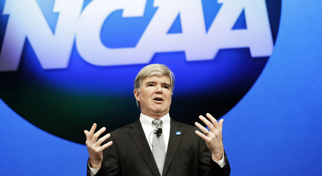 Mark Emmert declines to say anything about Penn State or the related lawsuits. (AP)