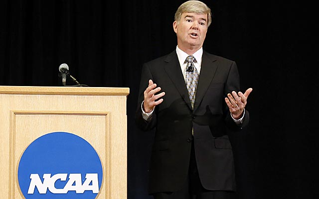 NCAA president Mark Emmert has a proposal for athlete stipend; will it lead to regular paychecks? (Getty Images)