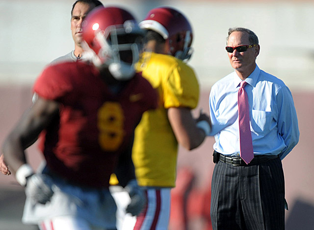 Haden oversees a football program that disappointed in 2012 and a coach under growing scrutiny. (US Presswire)
