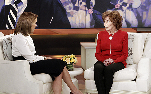 Sue Paterno talks with Katie Couric in an interview set to air Monday. (AP)