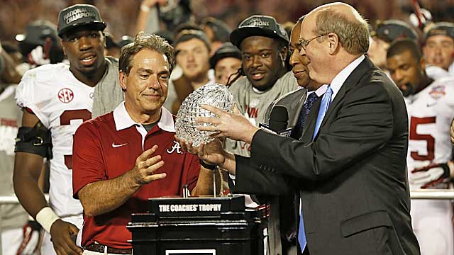 Nick Saban's opinion won't matter in the new playoff devised by BCS chief Bill Hancock and his cohorts. (Getty Images)