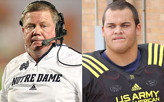 Brian Kelly is making Eddie Vanderdoes pay for wanting out of his Notre Dame commitment. (USATSI, 247Sports)