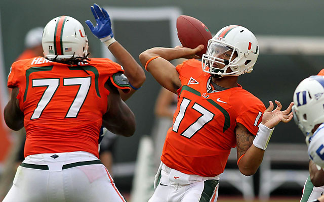 OT Seantrel Henderson (77) and QB Stephen Morris are intriguing prospects that might move up draft boards. (USATSI)