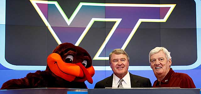 Will Frank Beamer (right, with John Swofford and HokieBird) be smiling after the season? (USATSI)