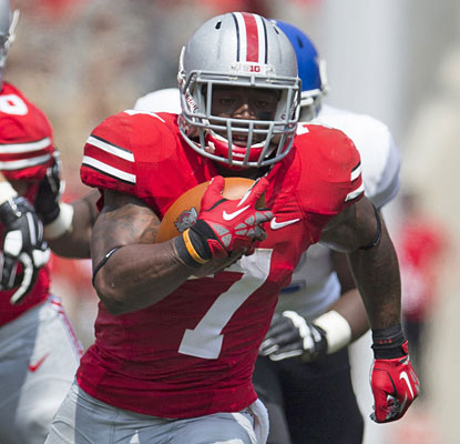 The Buckeyes lean on Jordan Hall for two rushing TDs with their leading rusher of 2012 suspended for the opener.  (USATSI)