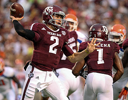 Johnny Manziel throws for 426 yards and three scores to lead Texas A&M past Sam Houston State. (USATSI)