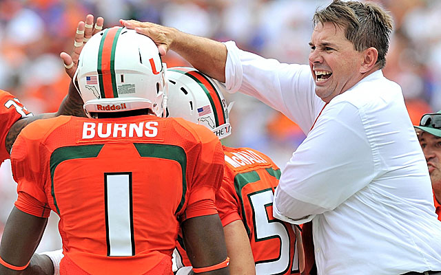 Hurricanes coach Al Golden celebrates a program-building win over the Gators. (USATSI)