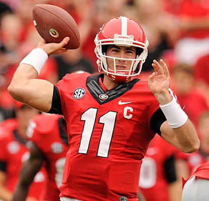 Aaron Murray throws for three touchdowns to become the second QB in SEC history to top 100 after Florida's Danny Wuerffel.  (USATSI)