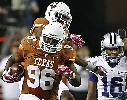 Chris Whaley recovers a fumble as the Texas Longhorns give coach Mack Brown some breathing room with a win over K-State. (USATSI)