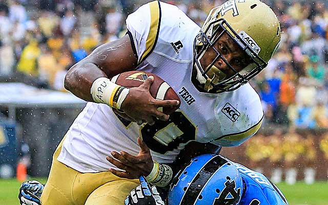 Georgia Tech running back Synjyn Days was among the 28 players to wear 'APU' on garb in Saturday's games. (USATSI)