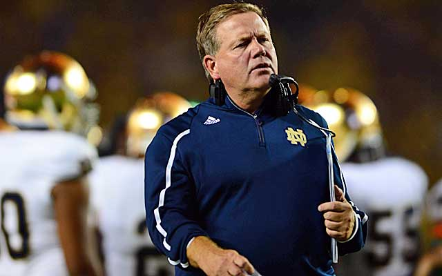 Notre Dame says Brian Kelly is No. 2 in wins among active FBS coaches, but the math just doesn't add up.  (USATSI)