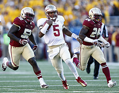 Florida State quarterback Jameis Winston throws four TD passes as the Noles hold off Boston College. (USATSI)