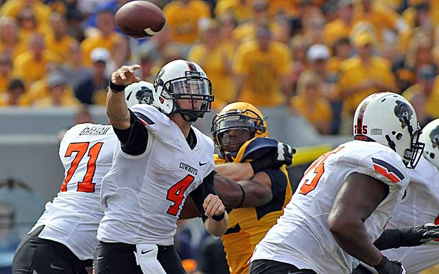 Oklahoma State loses in Morgantown, but its schedule sets up nicely to win the Big 12. (USATSI)