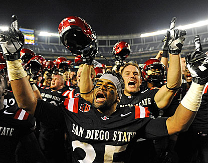 San Diego State's King Holder feels like celebrating after the Aztecs beat Nevada in overtime. (USATSI)