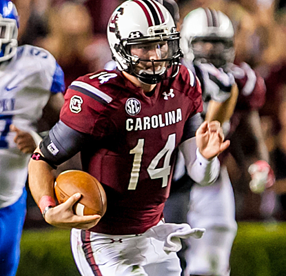South Carolina QB Connor Shaw throws a touchdown and rushes for another as the Gamecocks escape with a win.  (USATSI)