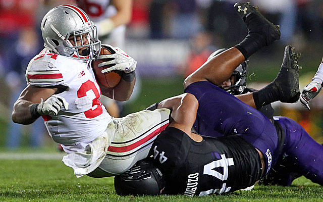 Ohio State rides Carlos Hyde's three touchdowns to a win over pesky Northwestern. (USATSI)