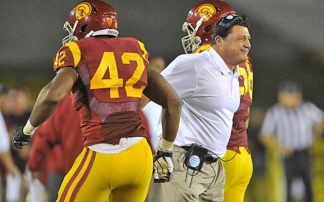 Interim coach Ed Orgeron injects some need energy into the Trojans program.   (USATSI)