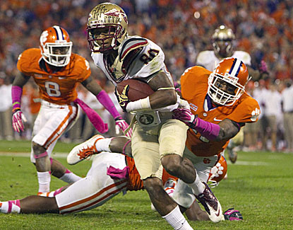Florida State's Rashad Greene catches eight passes for 146 yards and two touchdowns as the Noles cruise past Clemson. (USATSI)