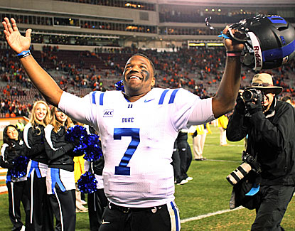 Duke quarterback Anthony Boone celebrates the Blue Devils' 13-10 win over Virginia Tech. (USATSI)