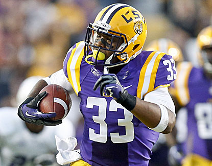 LSU running back Jeremy Hill rushes for 143 yards and two scores as LSU runs away from Furman in the second half. (USATSI)