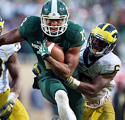Spartans wide receiver Bennie Fowler catches six balls for 75 yards and a touchdown against Michigan.  (USATSI)
