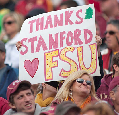 Florida State fans show their appreciation for Stanford's defeat of No. 2 Oregon, clearing BCS path for the Seminoles.  (USATSI)