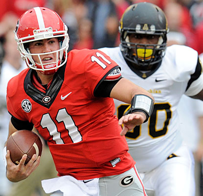 Aaron Murray contributes 24 rushing yards on two carries to go with his record-setting touchdown pass.  (USATSI)