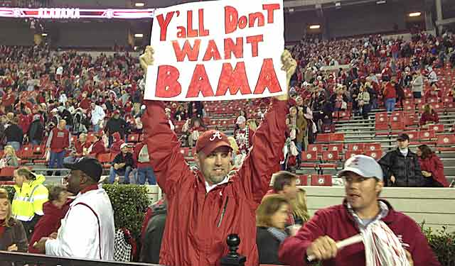 After beating LSU, one Alabama fan likes the Tide's chances against, well, anybody. (Dennis Dodd photo)