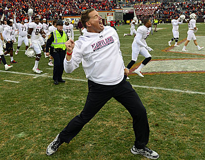 Maryland coach Randy Edsall lets loose after the Terps upset Virginia Tech in overtime. (USATSI)