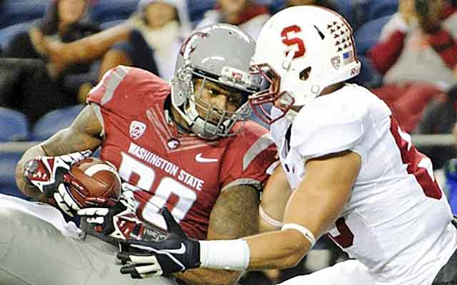 Deone Bucannon comes up with an interception vs. Stanford on Sept. 28. (USATSI)