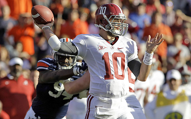 AJ McCarron -- unbeaten in two Iron Bowl starts -- gets his stiffest test against Auburn. (USATSI)