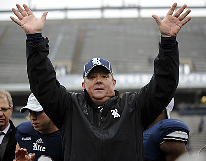 Rice coach David Bailiff leads the Owls to a 41-24 win over Marshall and the Conference USA championship. (USATSI)