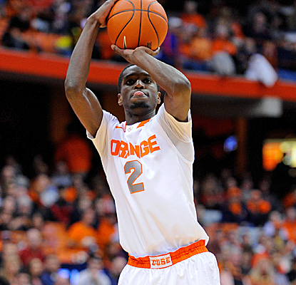 B.J. Johnson goes up for a jumper during No. 4 Syracuse's blowout victory over Binghamton.  (USATSI)