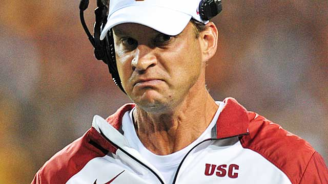 The switch to a 5-2 defense didn't help Lane Kiffin keep his job at USC.  (USATSI)