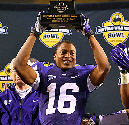 Tyler Lockett is all smiles after catching three touchdowns in Kansas State's victory over Michigan.  (USATSI)