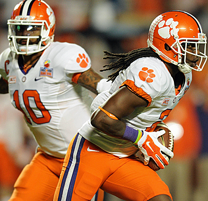 Tajh Boyd and Sammy Watkins are too much for Ohio State, as Clemson wins its first BCS bowl game.  (USATSI)