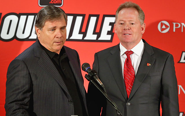 Tom Jurich brings Bobby Petrino back to Louisville after a tumultuous run for the coach. (Getty Images)